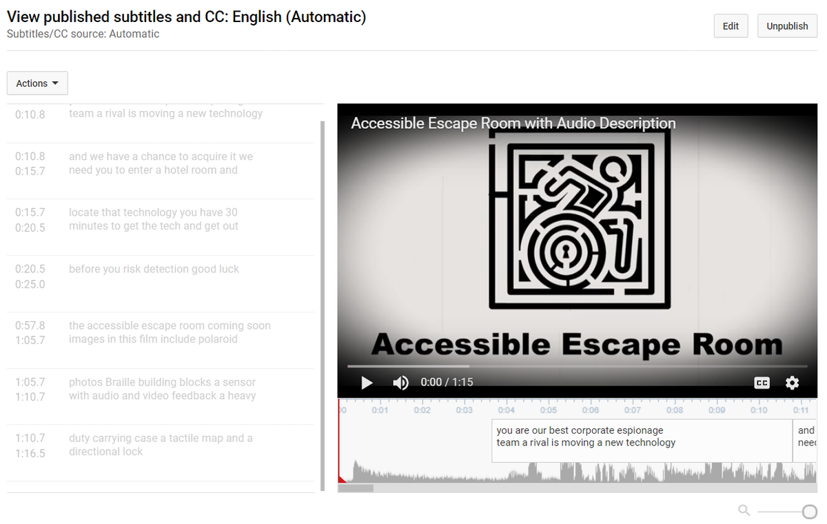 Screenshot of subtitles screen in youtube. The edit button is above the videos and captions, which are not yet editable, are to the left of the video.