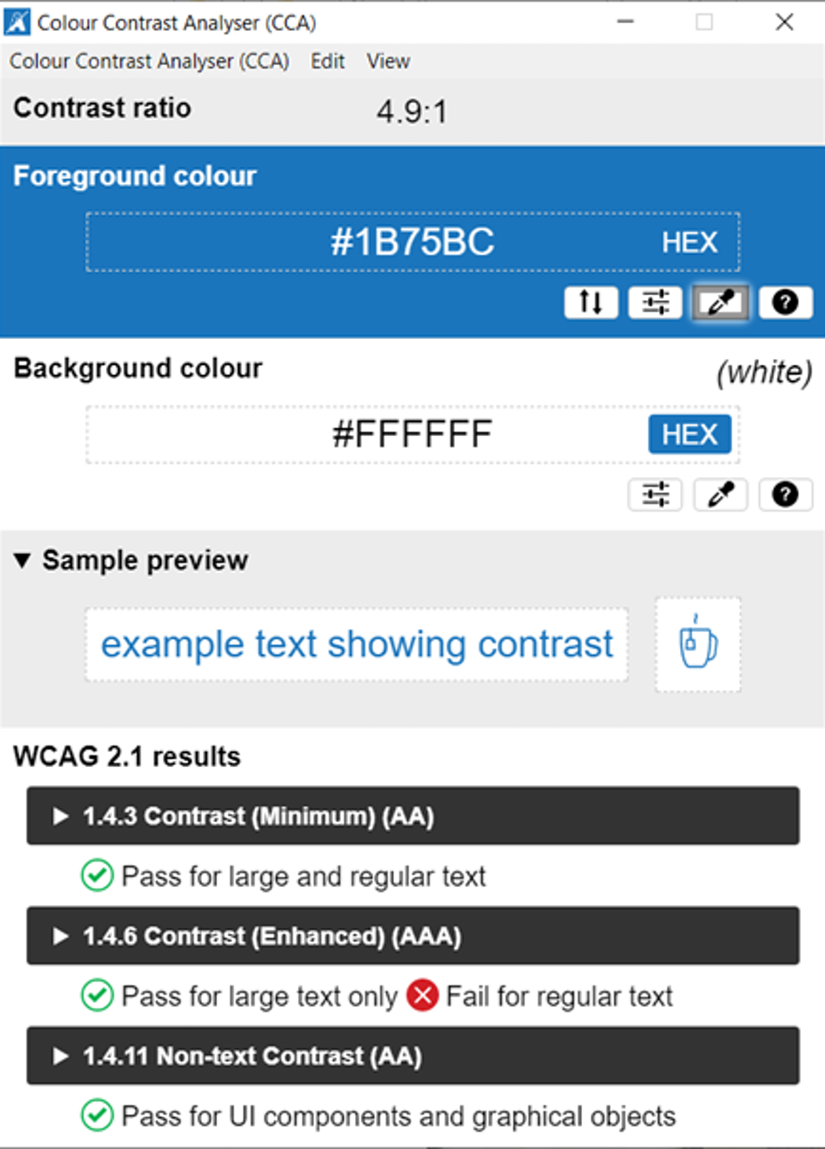 Close up of the selection tool used in color contrast analyser.