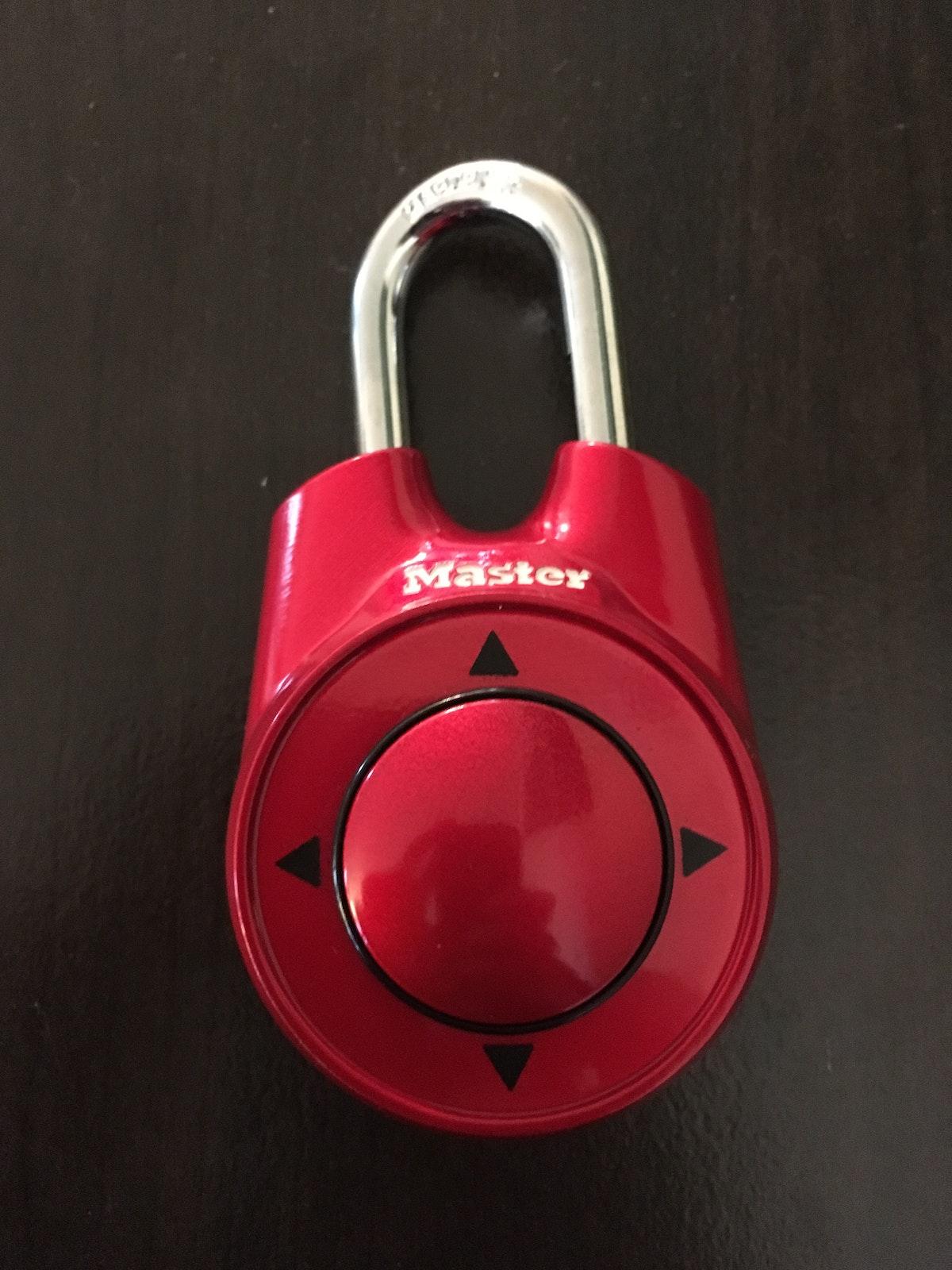 Red directional Master padlock
