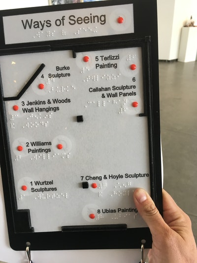 tablet like tactile map of an art exhibit