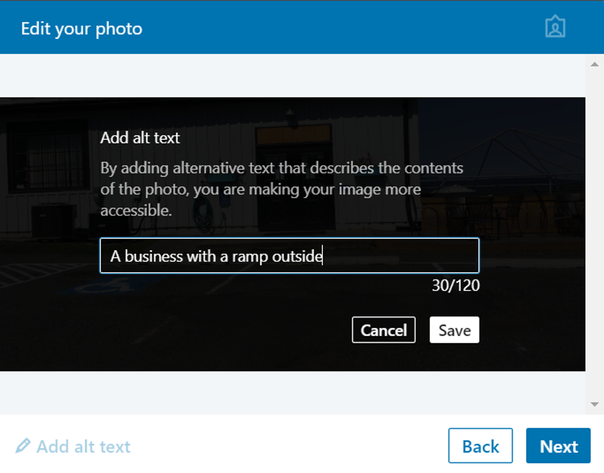 screencapture of the edit your photo window. Add alt text is on the bottom left before the back and next buttons