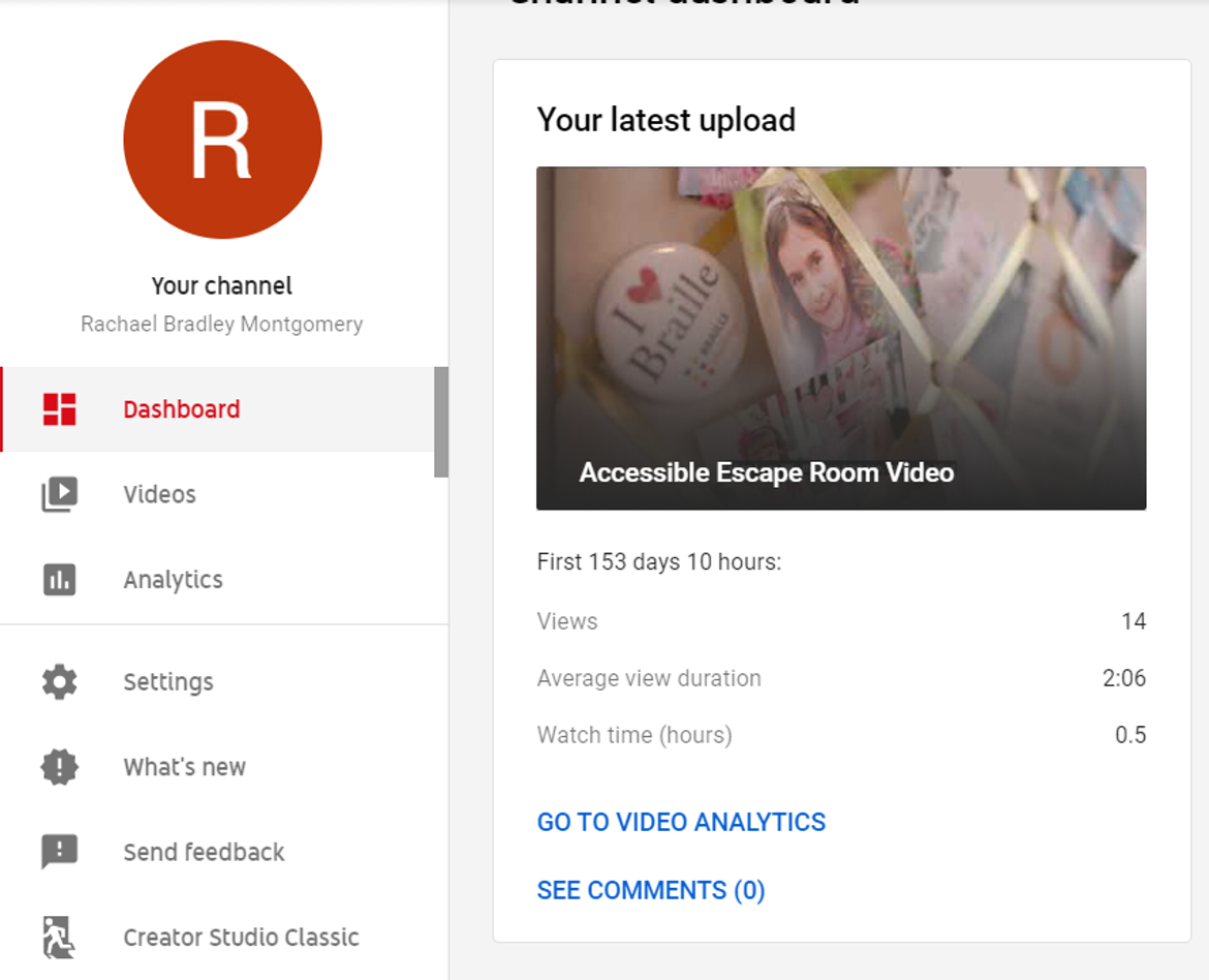 Screenshot of YouTube channel. The Creator Studeo Classic option is at the bottom of the list of options below the avatar.