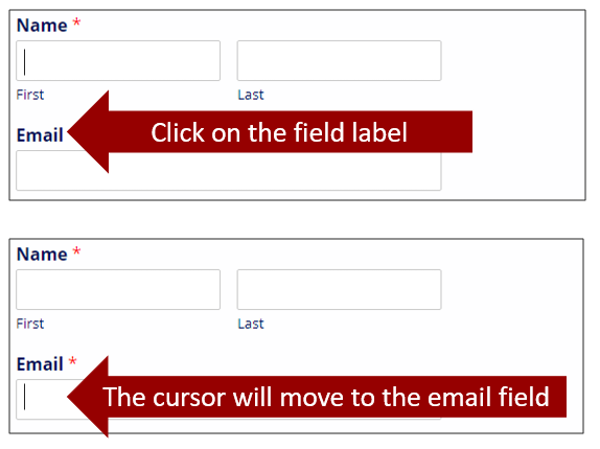 """Two screenshots of a form. In the first, an arrow points to the email label and states """"Click on the field label."""" In the second, an arrow points to the cursor in the email field and states """"The cursor will move to the email field."""""""