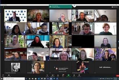 Screenshot of an online meeting of STEM librarians.